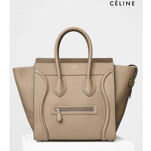 CÉLINE LEATHER MICRO LUGGAGE IN COLOR DUNE